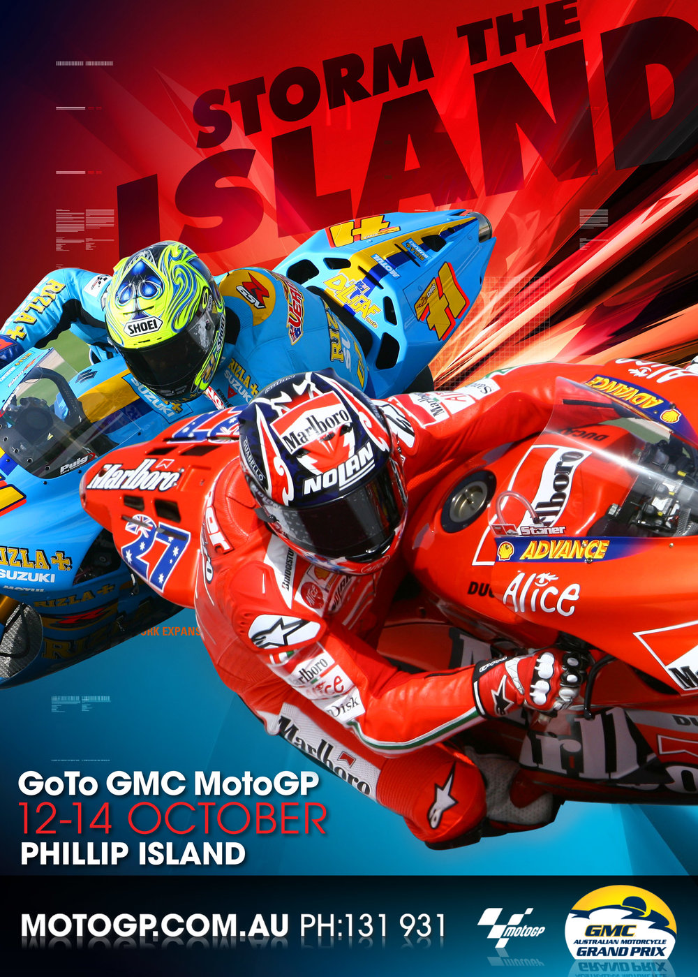 "MotoGP: ""Storm The Island"" Australian MotoGP event poster"