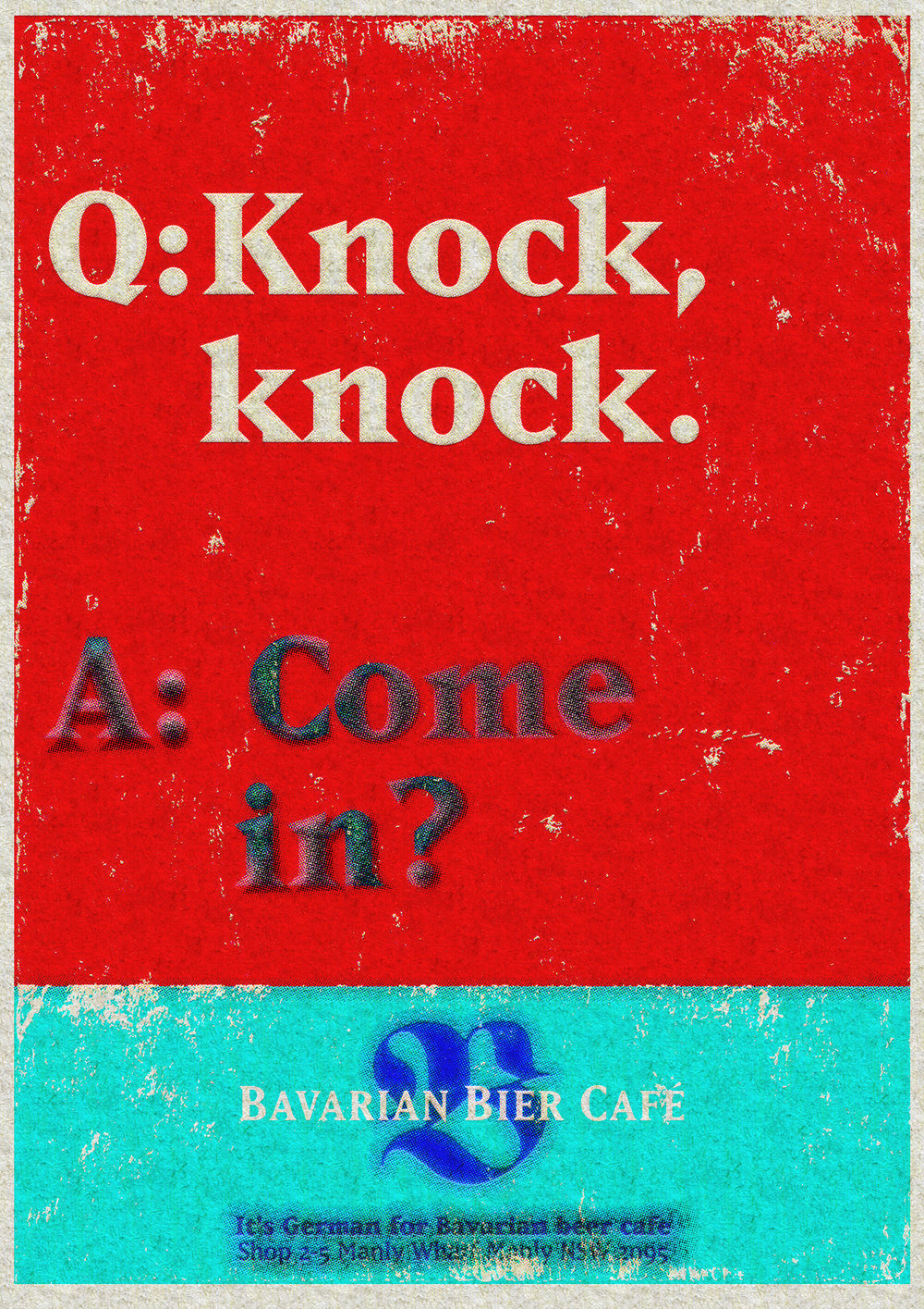 Bavarian Bier Café: print Ad. Knock, knock. Come in?