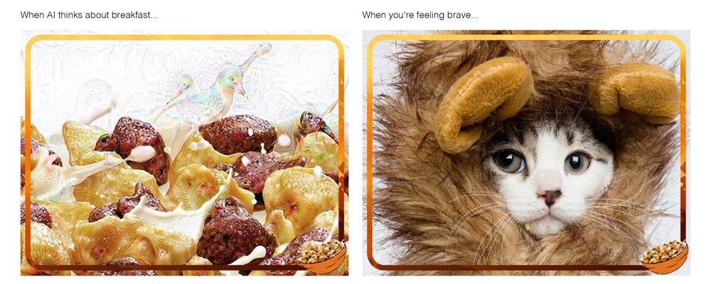 Nestlé Lion - Always-on Social Media Posts: When AI thinks about breakfast… When you're feeling brave...