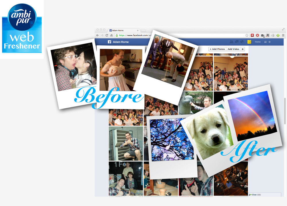 Procter & Gamble - AmbiPur: Web Freshener - Chrome Plugin. Facebook Before and After.