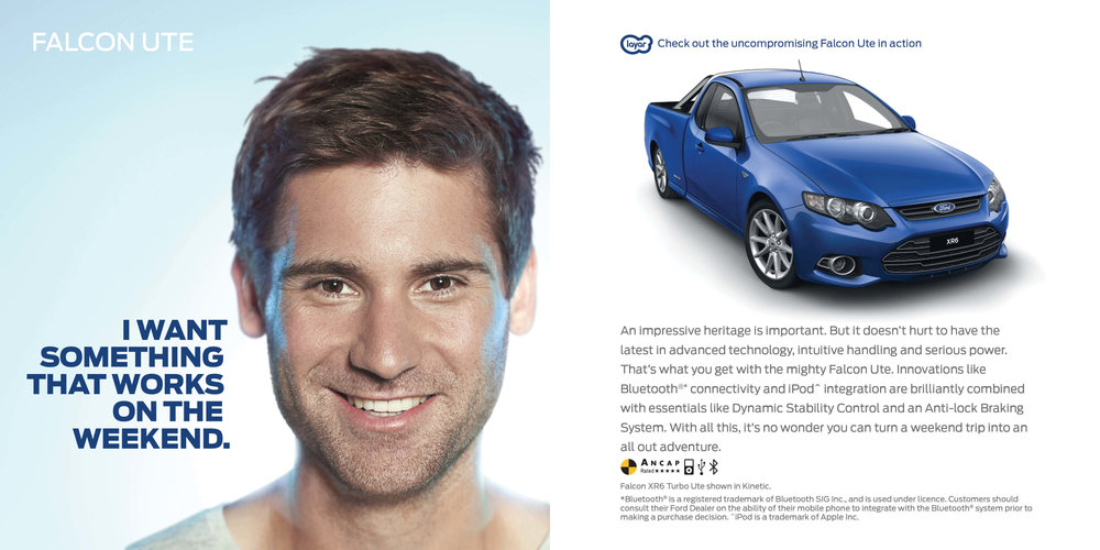 Ford: Augmented Reality Retention Book - Ford Falcon Ute. I want something that works on the weekend.