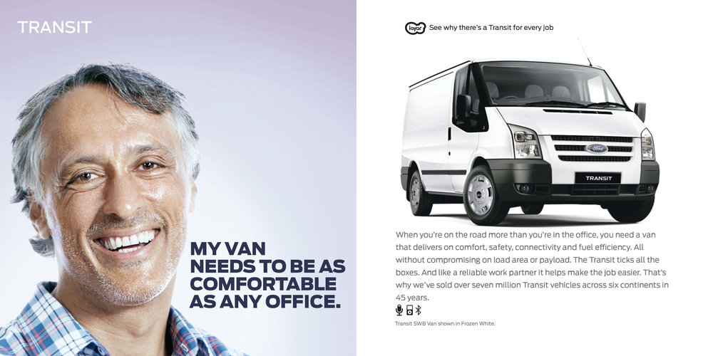 Ford: Augmented Reality Retention Book - Ford Transit. My van needs to be as comfortable as my office.