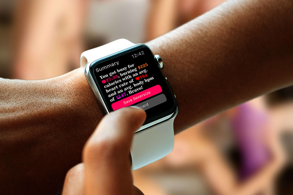 A photo showing the summary screen of the Sexercize Apple Watch app.