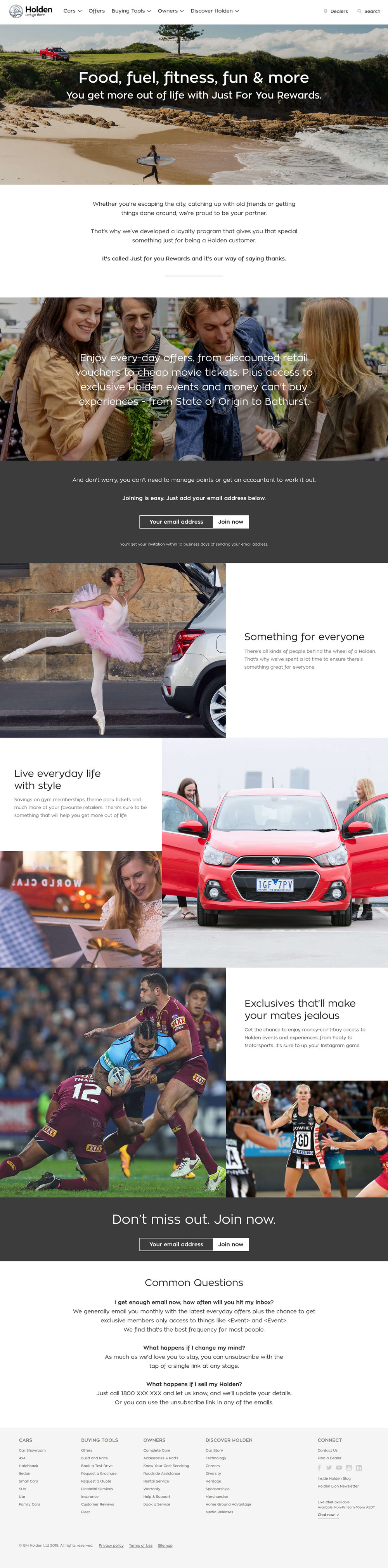 GM Holden: Just For You Rewards - Landing Page