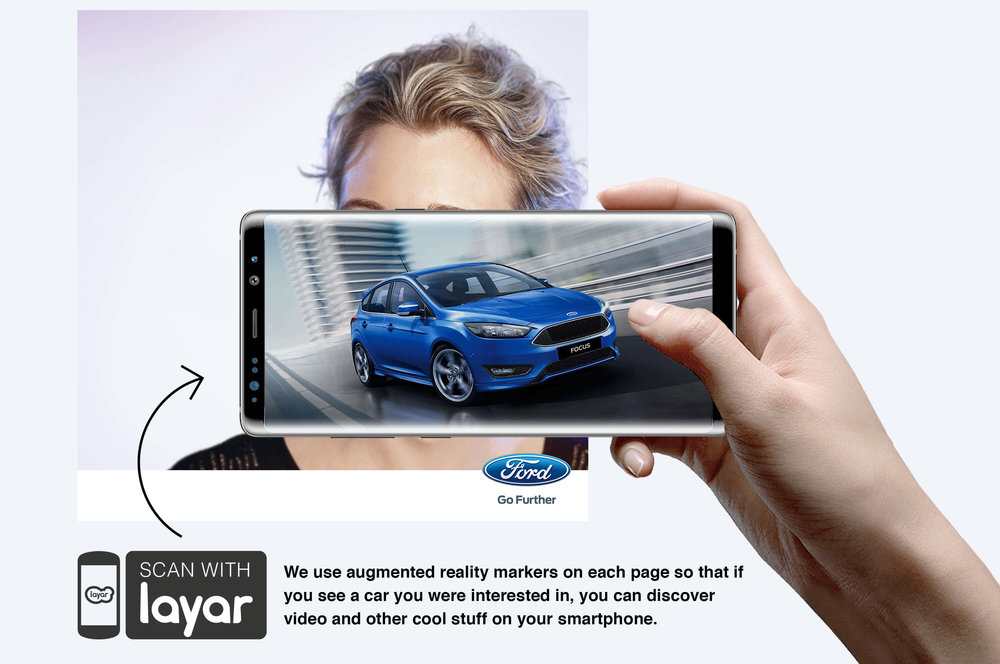 Ford: Augmented Reality Retention Book - We use augmented reality markers on each page so that if you see a car you were interested in, you can discover video and other cool stuff on your smartphone.