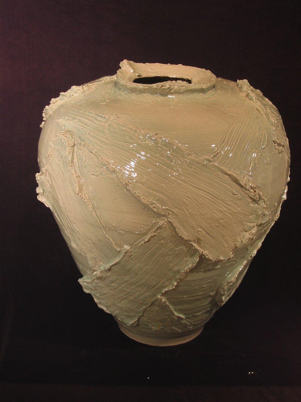 Large Blue Porcelain Jar Form with Applied Slabs .jpg