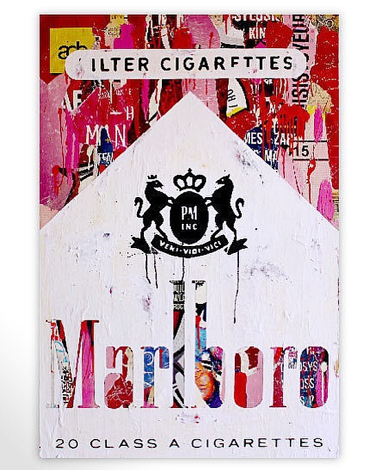 Marlboro: A pop art collection created from torn city posters by Michiel Folkers • To find out more information on this piece: DM or 📥codyfranklin@robertkiddgallery.com