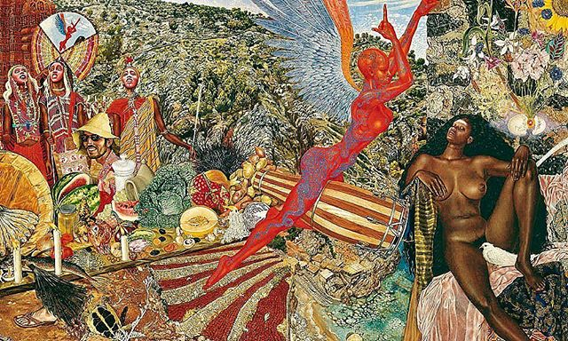 Annunciation: by Mati Klarwein. Carlos Santana noticed the painting in a magazine and requested it to be the cover of the band's album, Abraxas. • In a time where inclusion and equality is more important than ever, the Robert Kidd Gallery is highlighting an artist who's vision of embracing differences was ahead of his time and still incredibly moving, today. • Mati Klarwein was an legendary artist in the 20th century who's works were recognized by musicians such as Miles Davis, Carlos Santana, and Jimi Hendrix.  Klarwein believed in challenging our assumptions.  Creating controversial pieces whose revolutionary force still feels just as intense and influential as the day it was released. • To find out more information on this piece: DM or 📥codyfranklin@robertkiddgallery.com