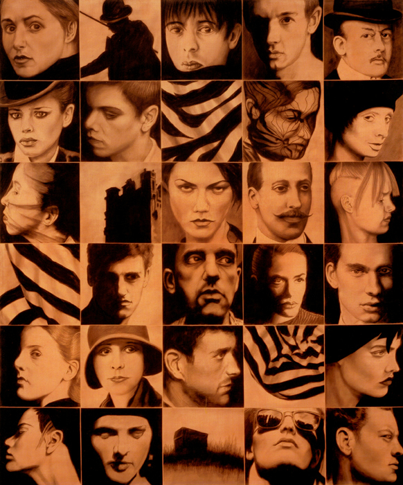 Faces #18-2 (Orange Sepia) [72 x 60]