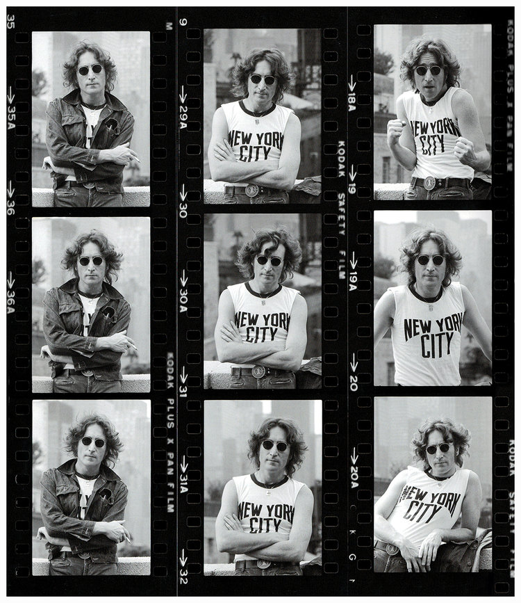 John Lennon Contact Sheet NYC 1974  Silver gelatin limited edition photographic print on paper  Email us for all inquiries: gerard@robertkiddgallery.com
