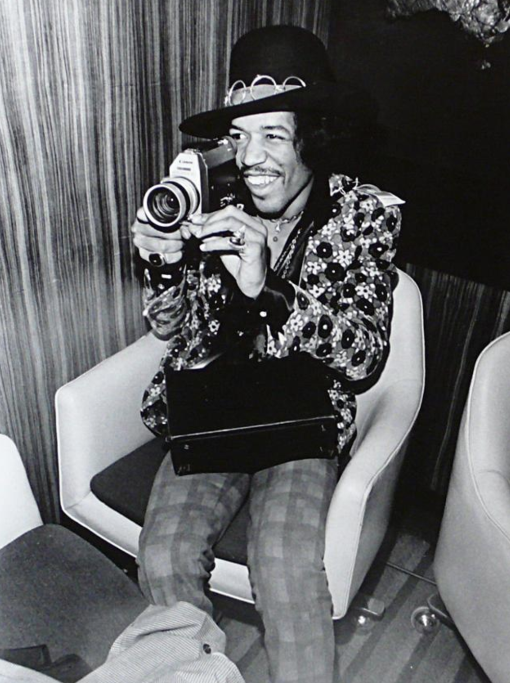 Elliot Landy  211 - Jimi Hendrix  Press Conference, on top of Pan Am building, NYC, 1968.  Silver gelatin limited edition photographic print  Email us for all inquiries: gerard@robertkiddgallery.com