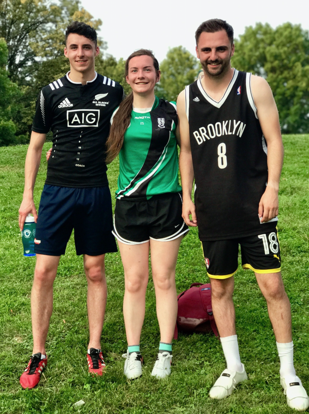 Colman, Edel and Ryan hanging out after our midweek match; they're in America this summer coaching soccer, but their football skill were badass.