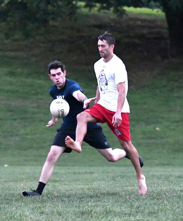 Playing Gaelic football barefoot