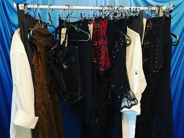 Our costume rack is filling up and so are the seats for our show!!! OBSCURA 6/15&16 www.syzpro.com GET YOUR TICKETS NOW! #costume #costuming #theater #circus #steampunk #corset #linenshirt #lace