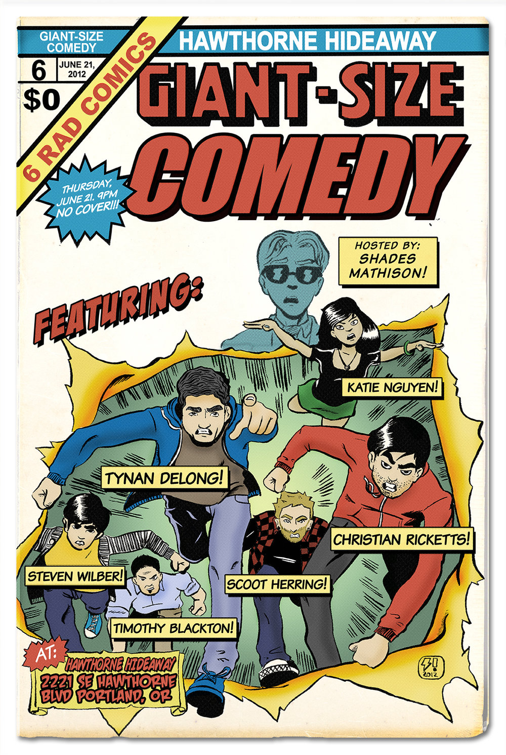 A poster for a comedy show, done up to look like Giant-Size X-Men #1.