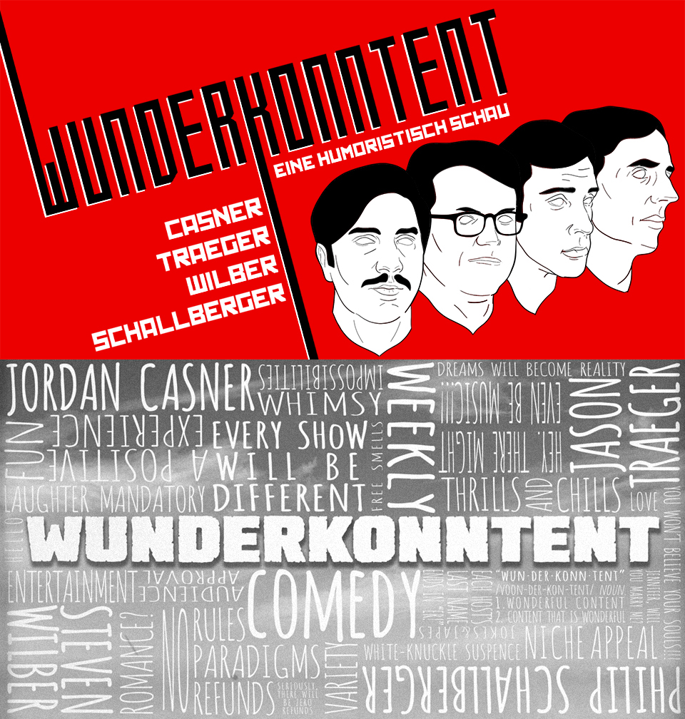 Conceptual event banners for a recurring comedy show.