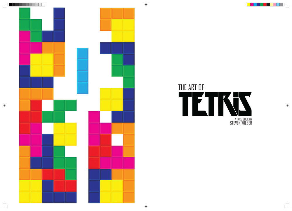 "Mock-up pages of a video game-themed art book titled ""The Art of Tetris."" (1 of 3)"