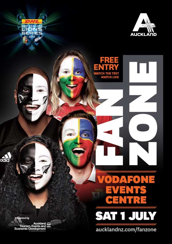 DHL New Zealand Lions Series 2017 Auckland Fanzone - Art direction, marketing collateral & city dressing