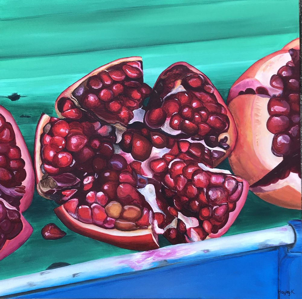 "Scarlett Jewels  61cm (W) x 61cm (H) x 2.5cm (D)  $500  This image reminds of our Thailand holiday. We were walking along Bangla Road in Patong. There were scores of people all enjoying the tropical heat and local sites. We can across this vibrant vendor with rows of gorgeous jewel-like pomegranates almost the size of my little girls head, bursting with tasty little pockets of flavour.  ""Pomegranates are like little explosions of awesome in your mouth"" ~ Tahereh Mafi"