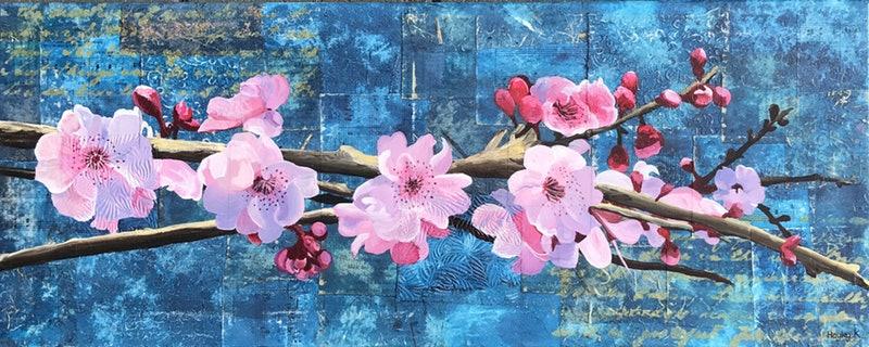 Spring blossom  76cm (W) x 30cm (H) x 1.5cm (D)  $350