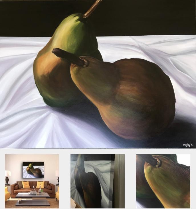 Still life Pears  101cm (W) x 76cm (H) x 3.5cm (D)  $830