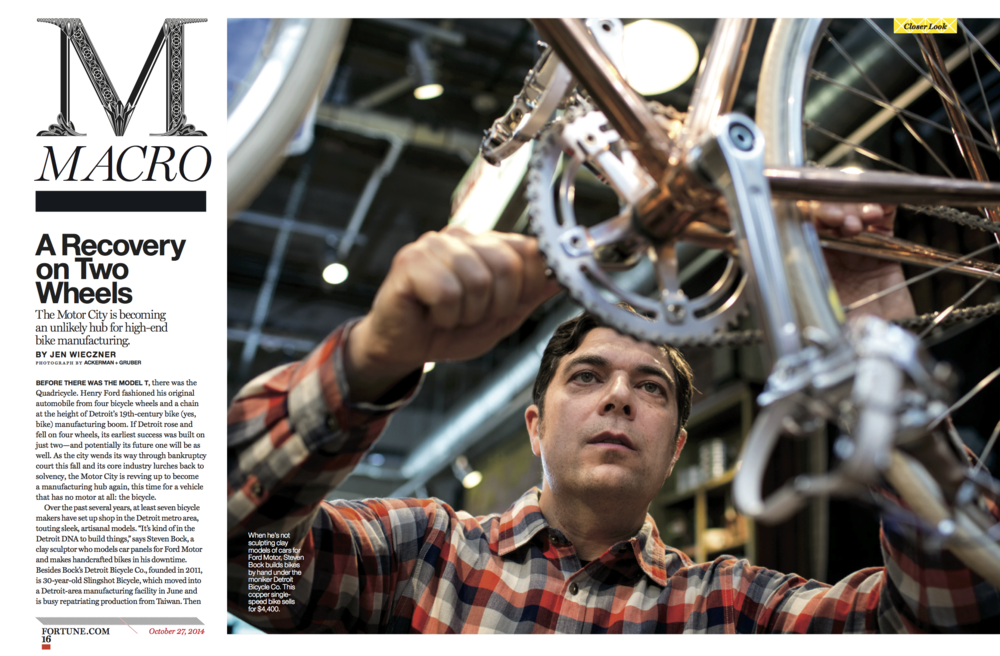 """Motor-less City? Bankrupt Detroit's Booming Bike Industry,"" Fortune, October 2014"