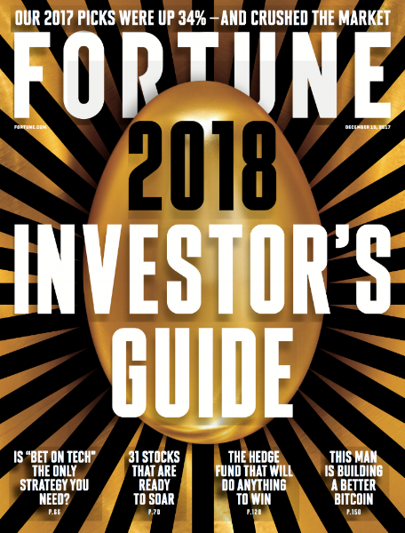 """All-Tech Investing: The 31 Best Stocks to Buy for 2018,"" Fortune, December 2017"