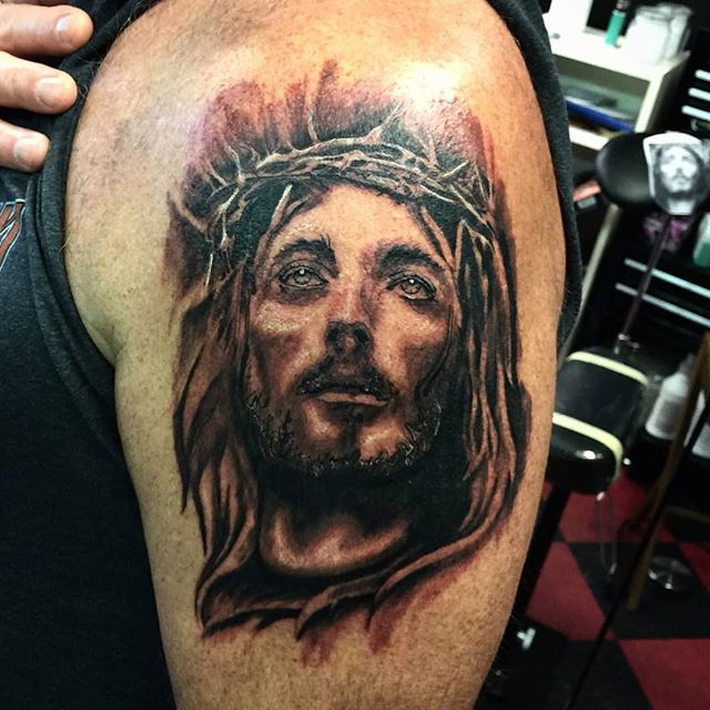 Work by our resident artist @harleydrums  #33lionstattoo #jesus #blackandgrey #huberheights #tattooportrait