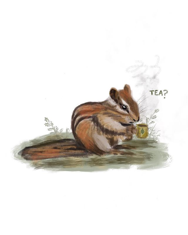 "Tea, anyone? ••• • this chipmunk illustration titled ""Tea?"" is now being offered in my shop as prints. they are 5x7"" and are $10 each. this illustration was painted digitally, and was so much fun c: ••• • i love tea very much. my favorite teas are Yerba Mate, Earl Grey, Chamomile, and Chai. my favorite teas as herbal medicine are anything with Nettles, Burdock Root, and Tulsi in them (Chamomile can go here too). single infusions of Nettles and Burdock Root are off the charts. what are your favorite tea(s)? 🌿 i hope you all have a lovely weekend 🐿🍃 ••• • #animalpower #illustration #artistsoninstagram #art #artwork #naturelover #motherearth #womenwhodraw #blackartist #blackartist #blackart #chipmunk #animalillustraions #tea #tealover"