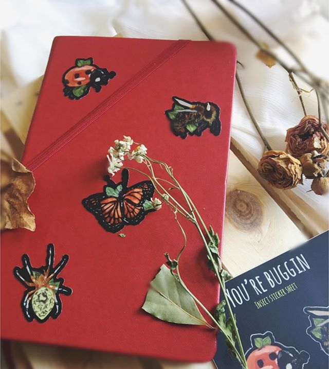 happy friday 🐞🐞🐞 here are my bug stickers on my bullet journal. what insect(s) do you relate the most to?  sticker sheets are available on theroaringsiren.com 👉🏾 link in my bio . . .  #art #artistoninstagram #artwork #illustration #theroaringsiren #bugs #mystic #naturelover #motherearth #blackartist #womenwhodraw