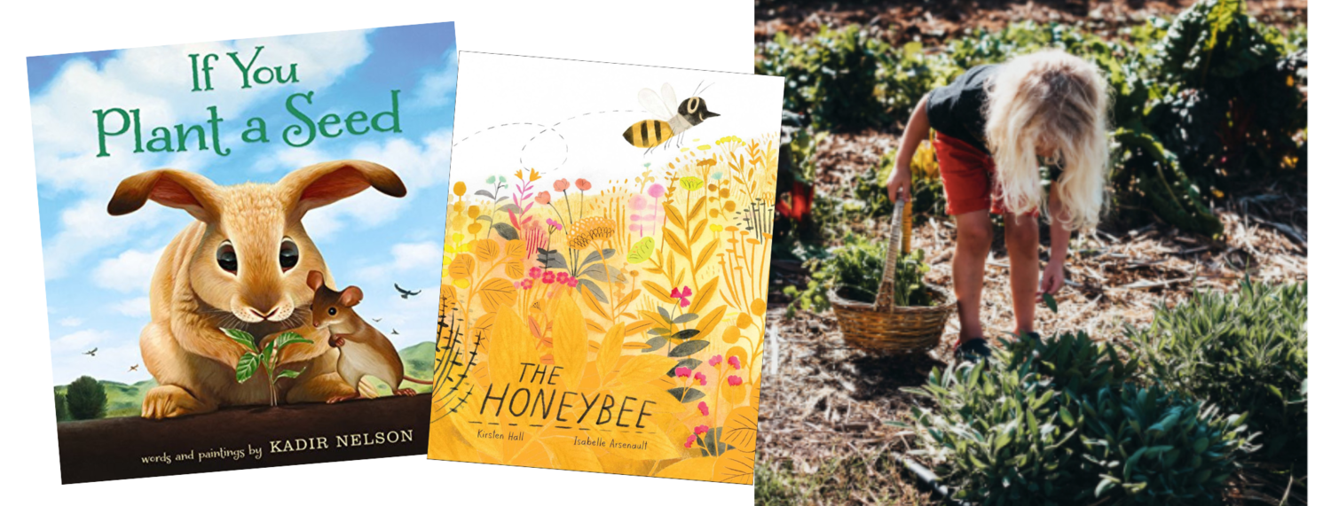 If You Plant a Seed  by Kadir Nelson (Balzer & Bray, 2015),  The Honeybee  written by Kirsten Hall, illustrated by Isabelle Arsenault (Atheneum Books, 2018), photo courtesy of keikiandplow.com