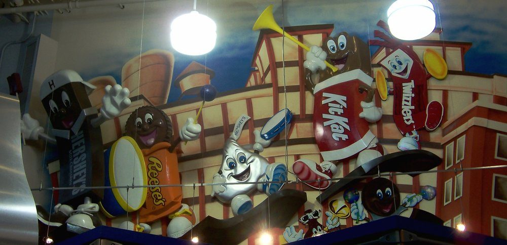 Hershey's candy characters inside Hershey's Chocolate World