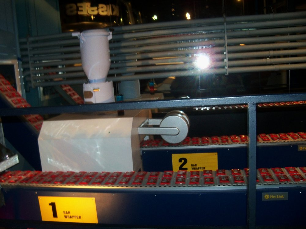 Candy wrapper conveyor belt in the Hershey Factory Tour ride