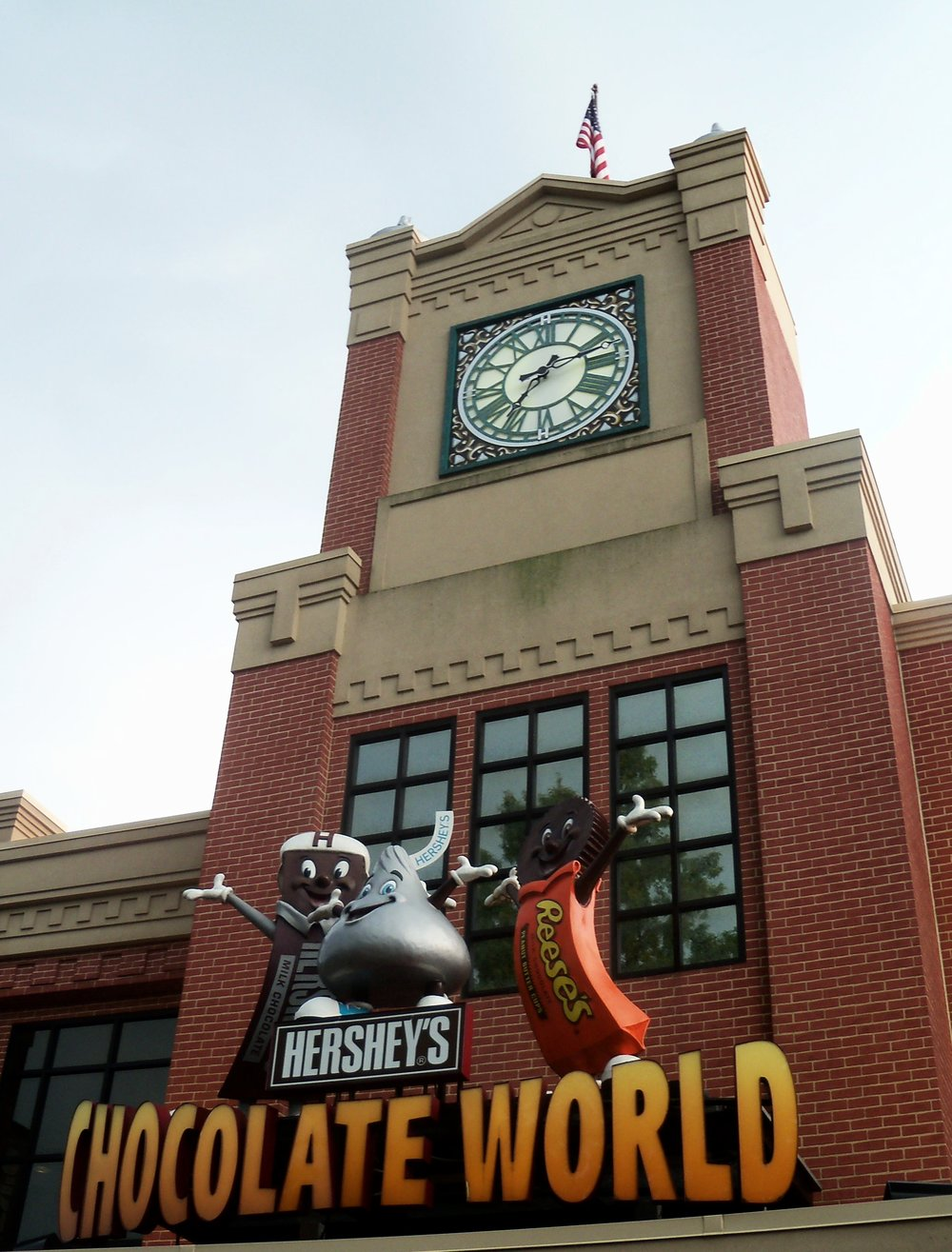 Above the entrance to Hershey's Chocolate World