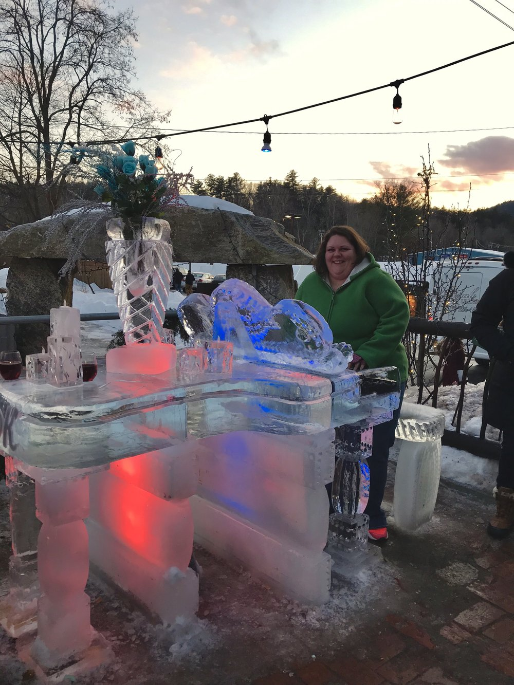 Playing the grand piano at Funky Ice Fest in Lake George, NY. c. January 2019