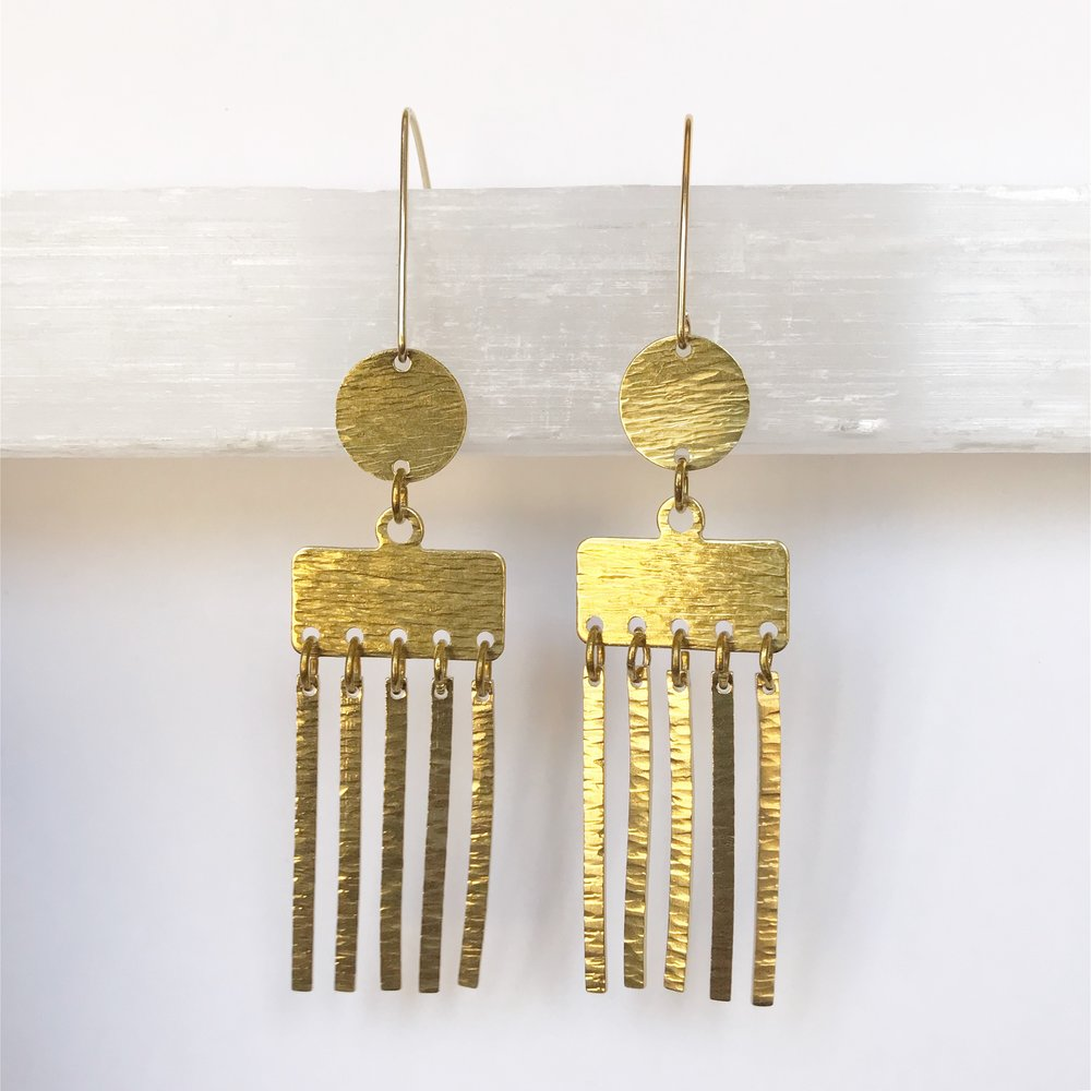 BRASS STATEMENT EARRINGS - STYLE NO. 4