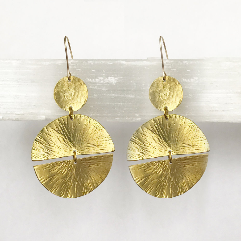 BRASS STATEMENT EARRINGS - STYLE NO. 22