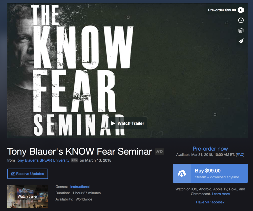 THE KNOW FEAR SEMINAR - NOW AVAILABLE THROUGH SPEAR UNIVERSITY AND VIMEO ON DEMAND
