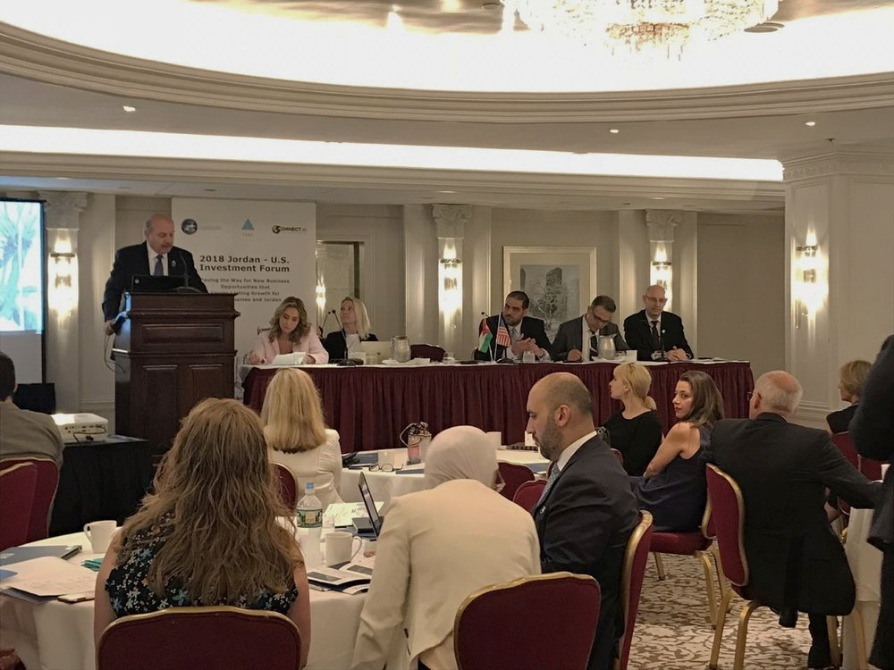 Mr. Mohammed Bataineh, AmCham Chairman, welcomes attendees at the Jordan-US Investment Forum on June 25, 2018 in New York