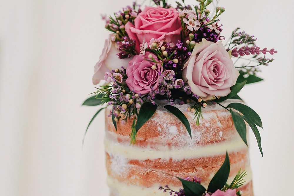 CELEBRATION CAKE – POA from$100 (serves up to 30 guests) - Our chef can customise a stunning semi-naked style celebration cake adorned with fresh flowers in the flavours of your choice, served on a beautifully decorated cake table complemented by vintage tea ware to match your theme.