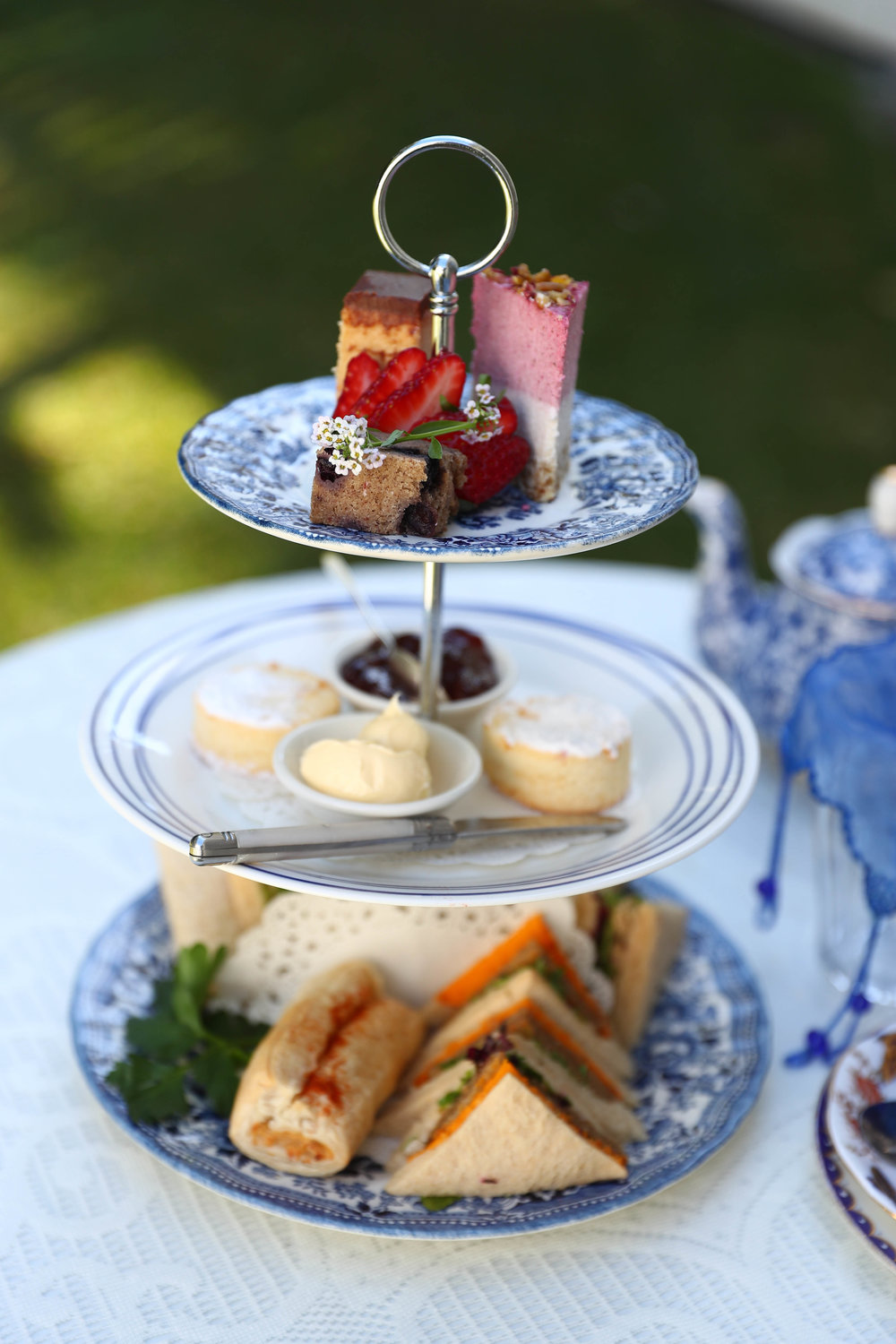 Vegan high tea is served on a beautiful, vintage tiered tray