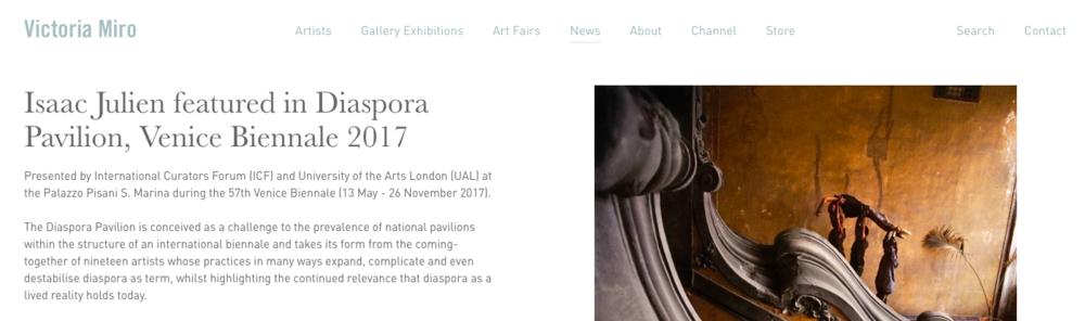 Victoria Miro - Isaac Julien featured in Diaspora Pavilion, Venice Biennale 201712 May 2017