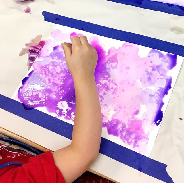 Prepping backgrounds for a special project! We love working with liquid watercolors in preschool; adding special reactors like salt is a favorite! . . . . . #preschool #creativearts #creativeartspreachool #iteachtoo #liquidwatercolor #dickblick #milwaukee #painting #purple #childrensart #artteacher #artistsoninstagram
