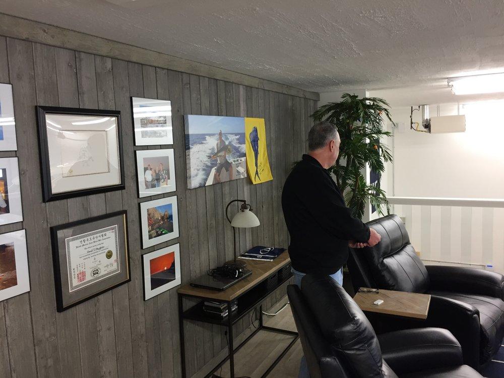 Custom loft area with projection TV