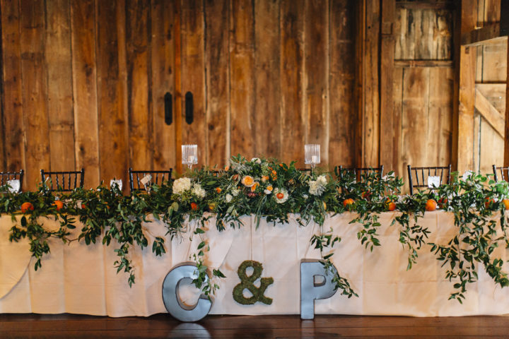 Head table at a wedding. Photo: Jeff Frandsen