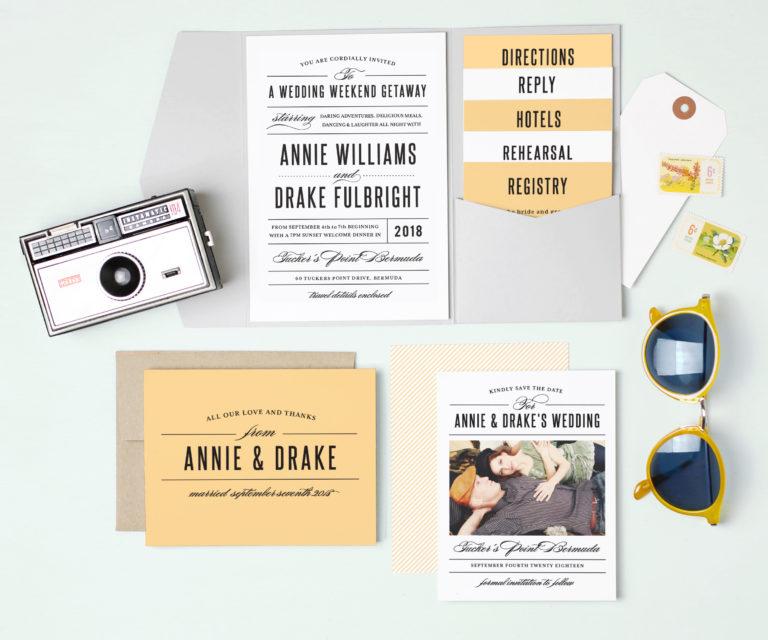 color block wedding invitations