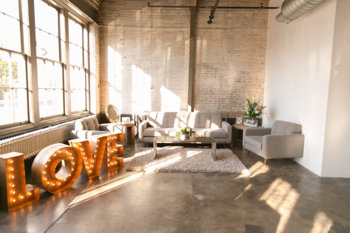 This couple added a little lounge area to their wedding reception.