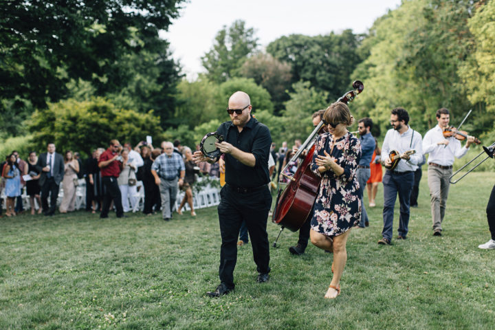 This couple had live musicians lead their guests to cocktail hour.