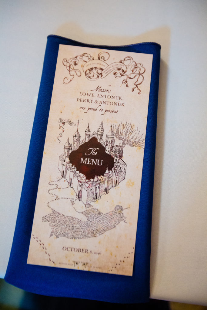 "Loved the ""Marauder's Map"" wedding menu!"