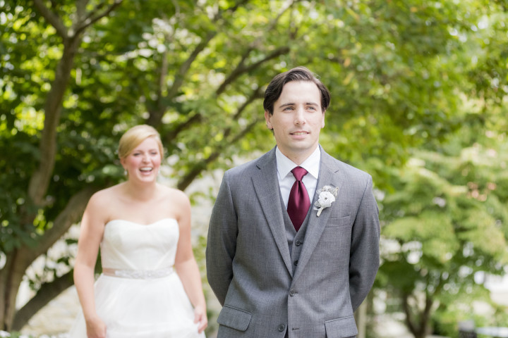 Love the look of pure excitement on the bride's face as she's walking to see her groom for the first time!